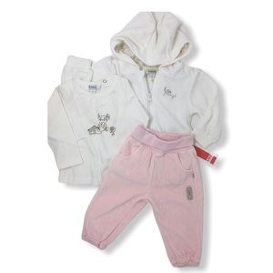 Kanz Baby Girls Pink White Velour Jogging Suit NEW